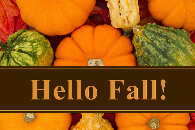 hello fall words with pumpkins